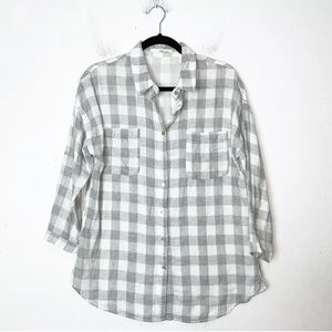 Ellison Gray and White Windowpane Button Up Shirt